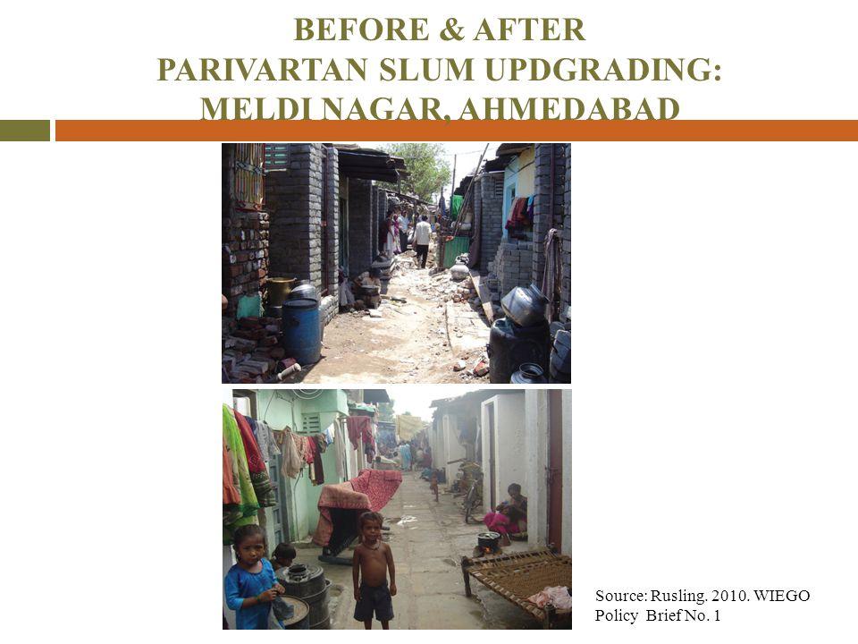 BEFORE & AFTER PARIVARTAN SLUM UPDGRADING: MELDI NAGAR, AHMEDABAD