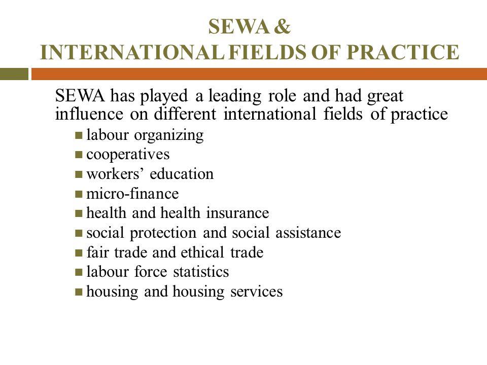 SEWA & INTERNATIONAL FIELDS OF PRACTICE