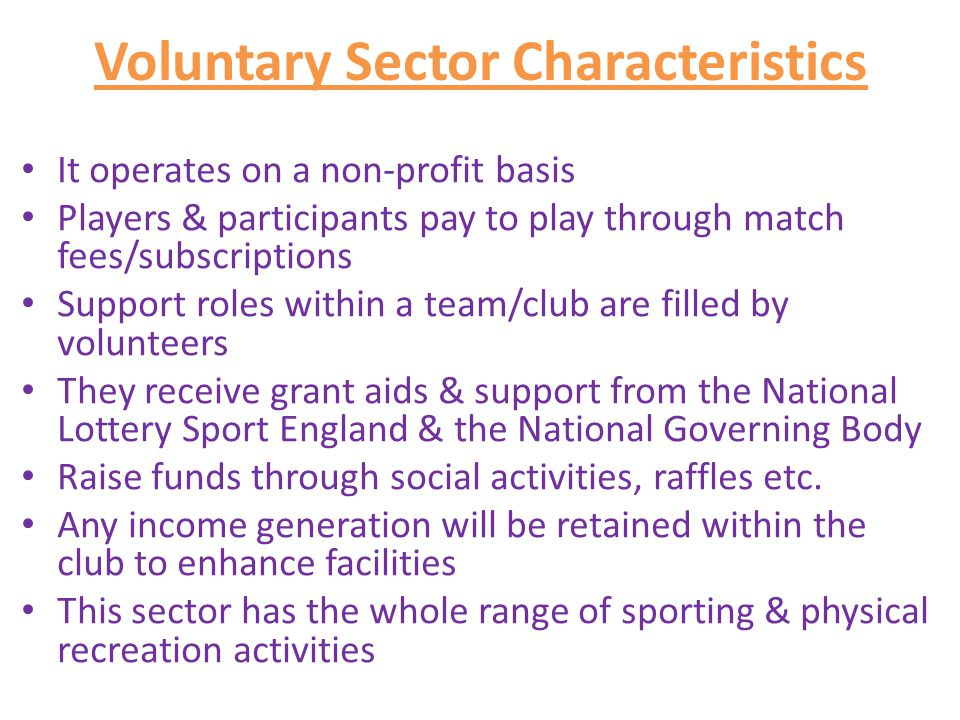 Voluntary Sector Characteristics
