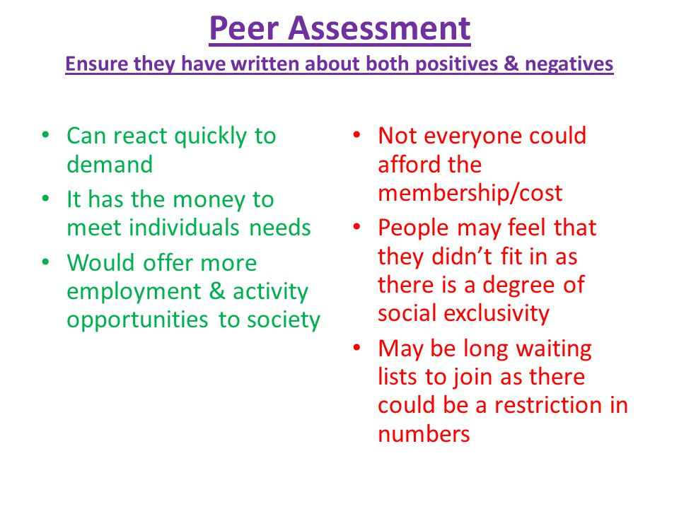 Peer Assessment Ensure they have written about both positives & negatives