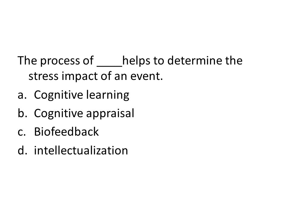 The process of ____helps to determine the stress impact of an event.
