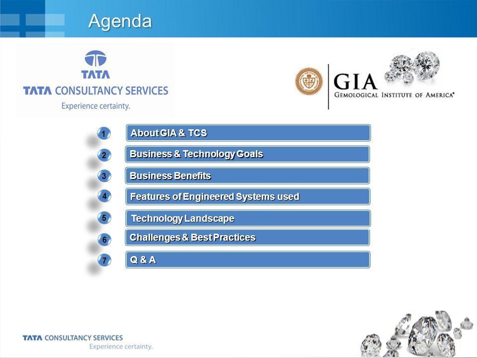 Agenda About GIA & TCS Business & Technology Goals Business Benefits