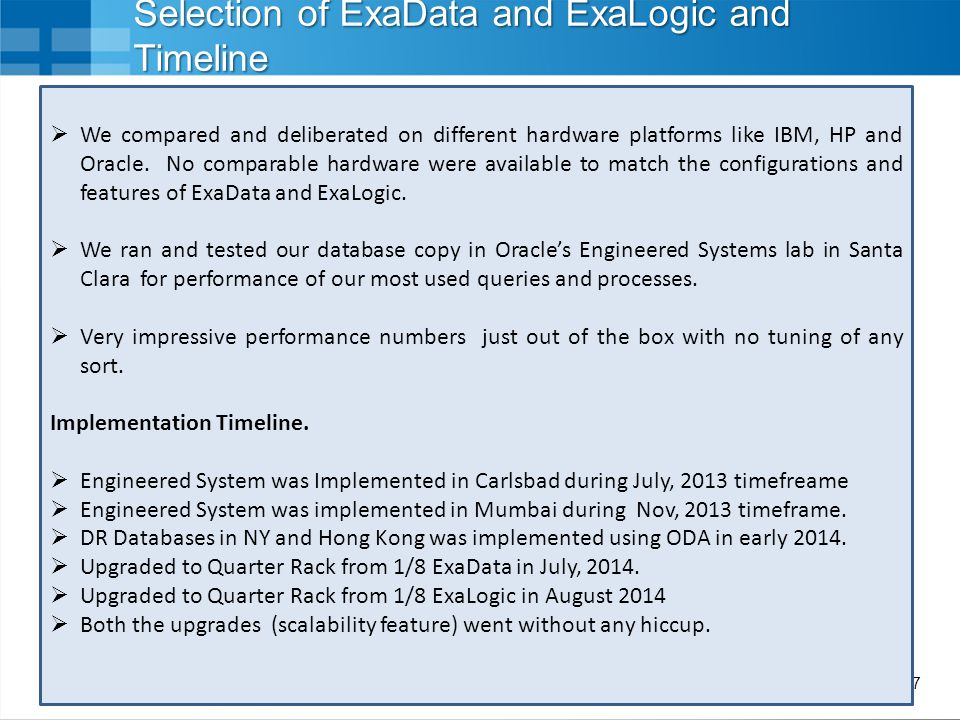 Selection of ExaData and ExaLogic and Timeline