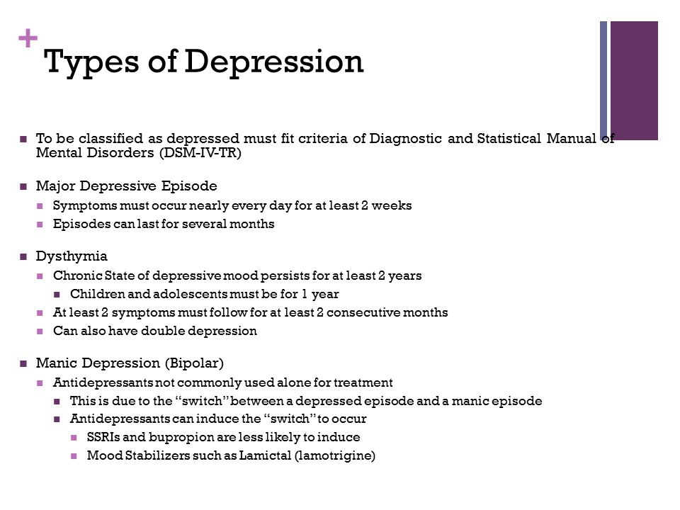 Types of Depression To be classified as depressed must fit criteria of Diagnostic and Statistical Manual of Mental Disorders (DSM-IV-TR)