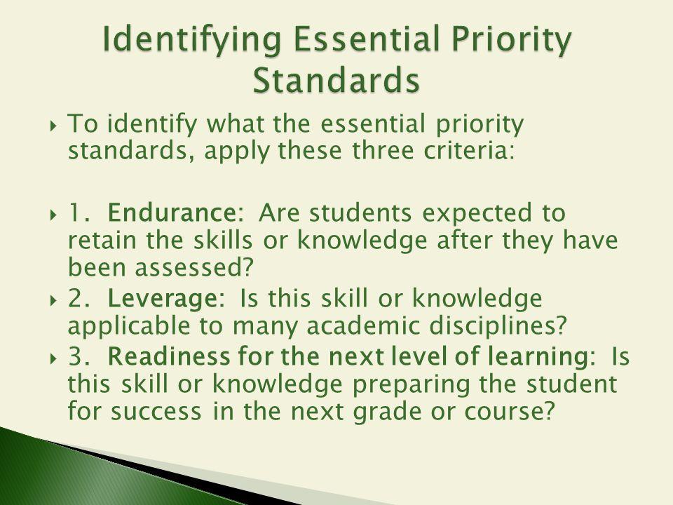 Identifying Essential Priority Standards