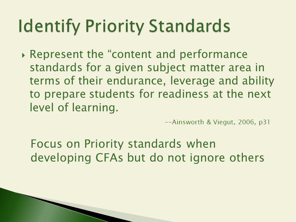Identify Priority Standards