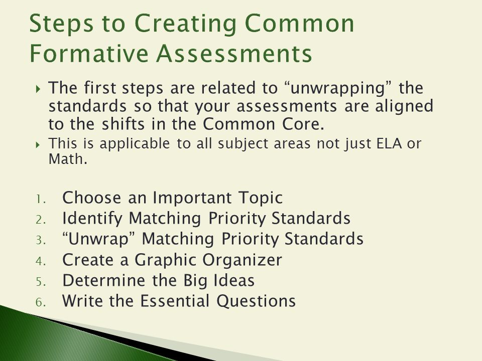 Steps to Creating Common Formative Assessments