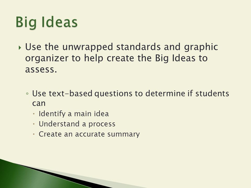 Big Ideas Use the unwrapped standards and graphic organizer to help create the Big Ideas to assess.