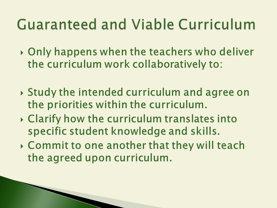 Guaranteed and Viable Curriculum
