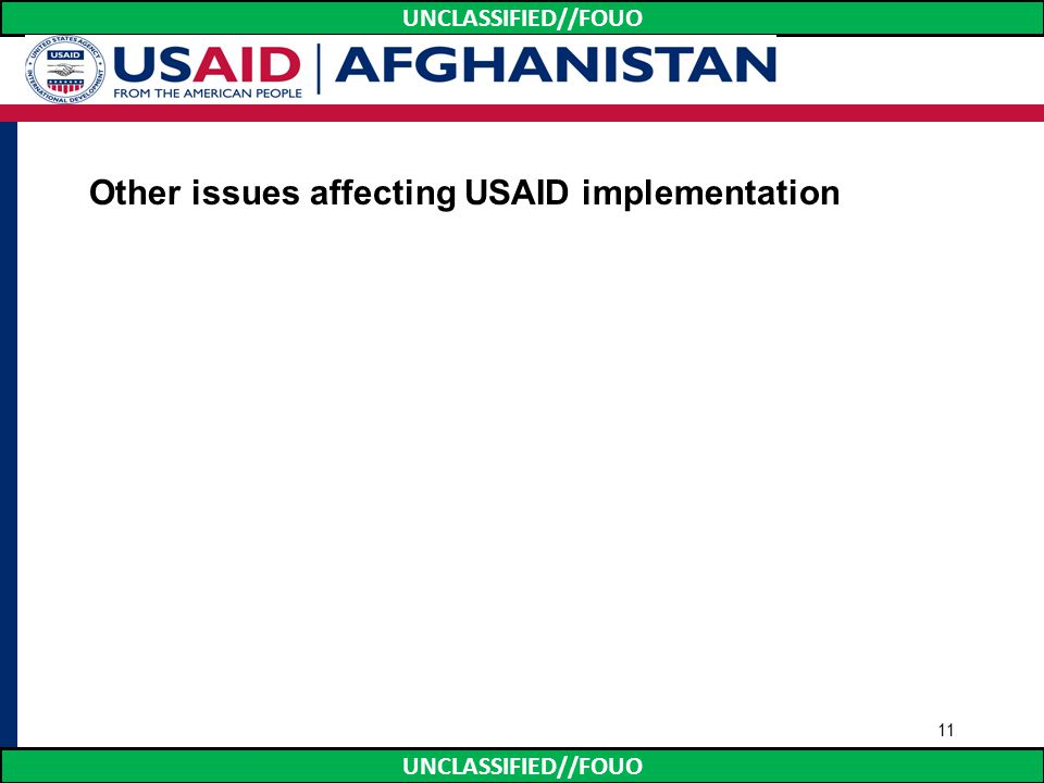 Other issues affecting USAID implementation