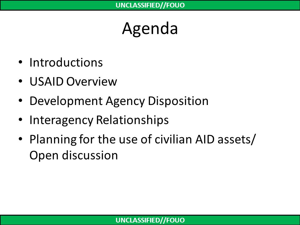 Agenda Introductions USAID Overview Development Agency Disposition