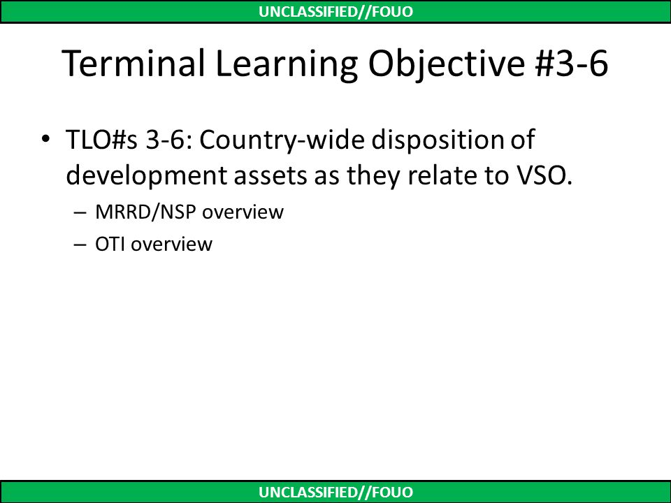Terminal Learning Objective #3-6