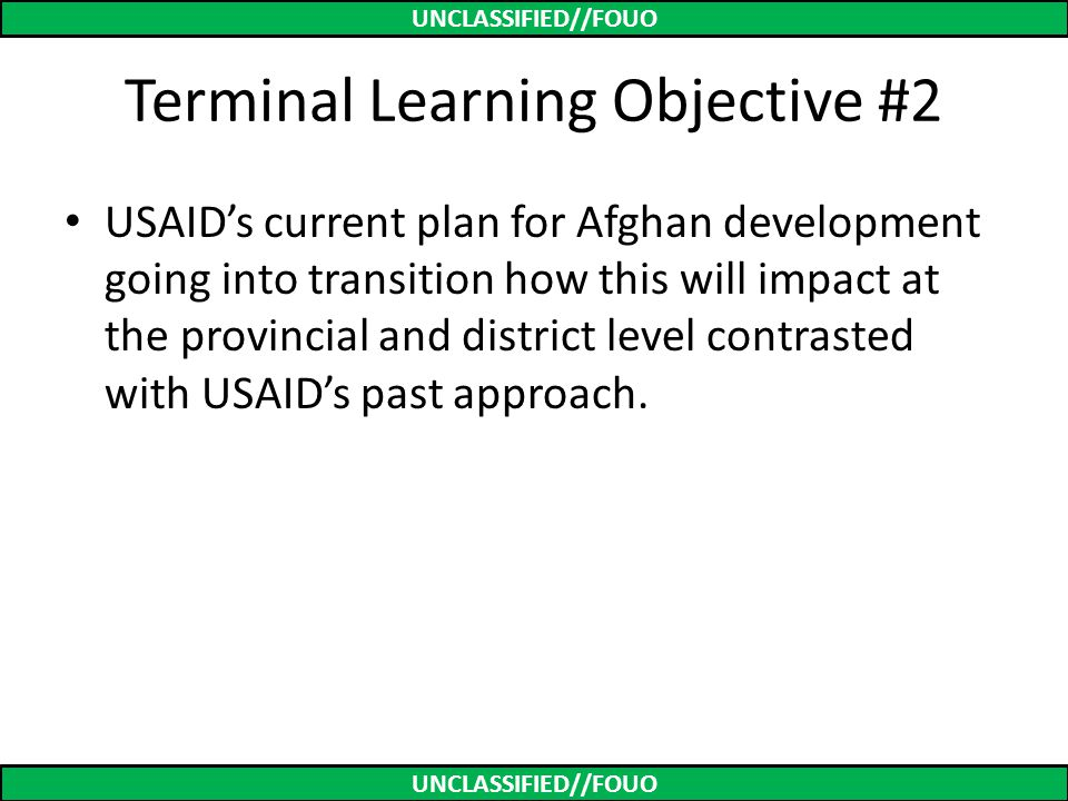 Terminal Learning Objective #2