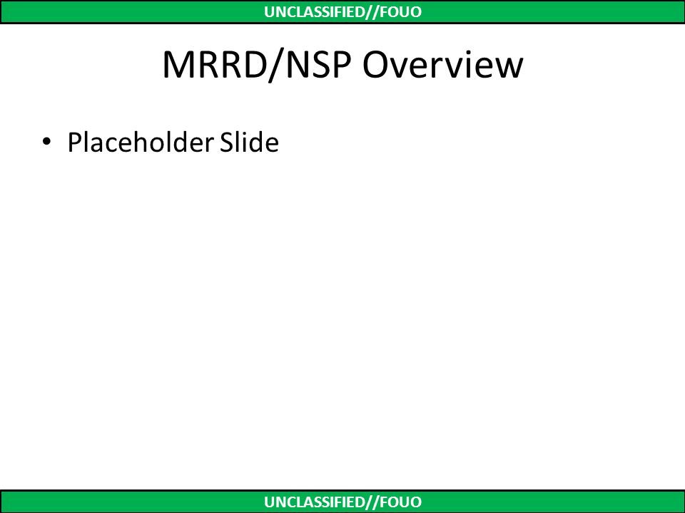MRRD/NSP Overview Placeholder Slide