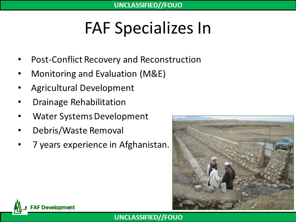 FAF Specializes In Post-Conflict Recovery and Reconstruction