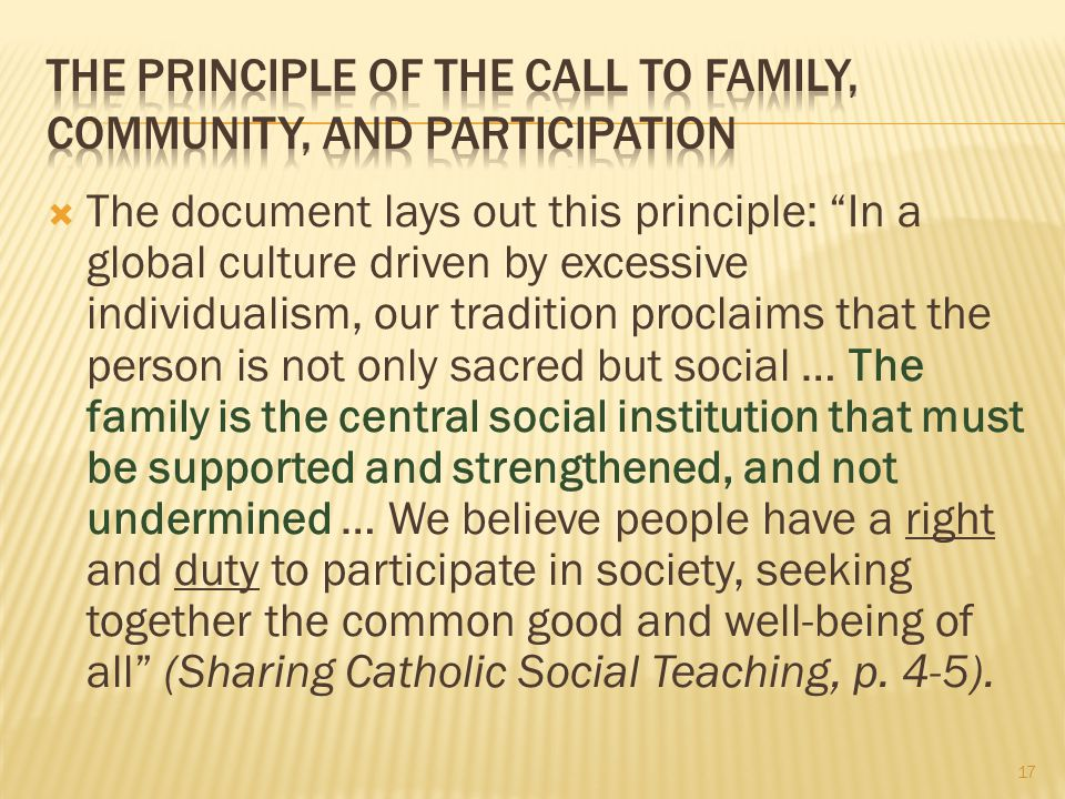 The Principle of the Call to Family, Community, and Participation