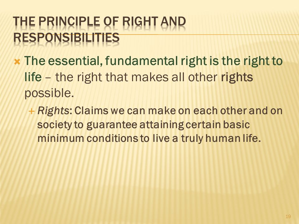 The Principle of Right and Responsibilities