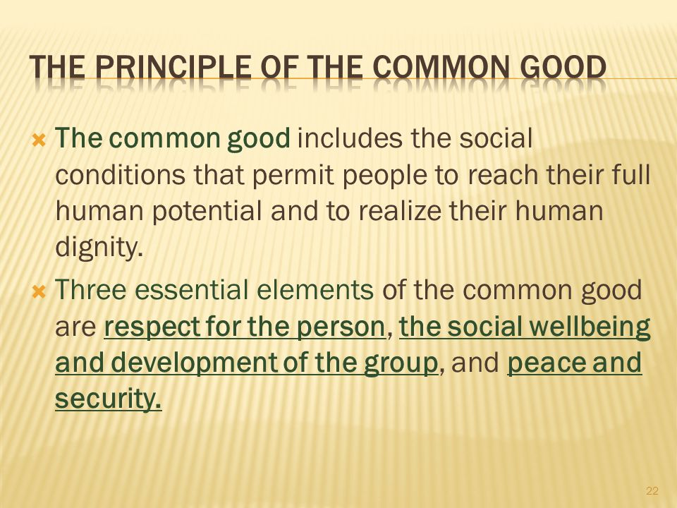 The Principle of the Common Good