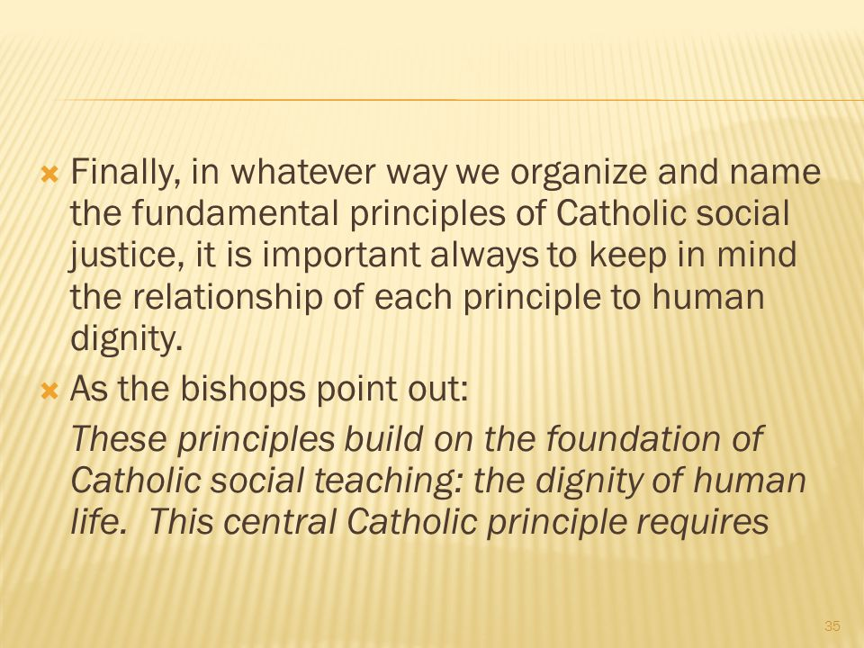 Finally, in whatever way we organize and name the fundamental principles of Catholic social justice, it is important always to keep in mind the relationship of each principle to human dignity.