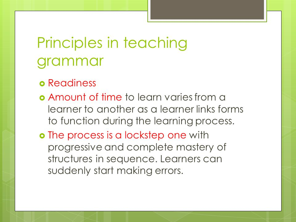 Principles in teaching grammar