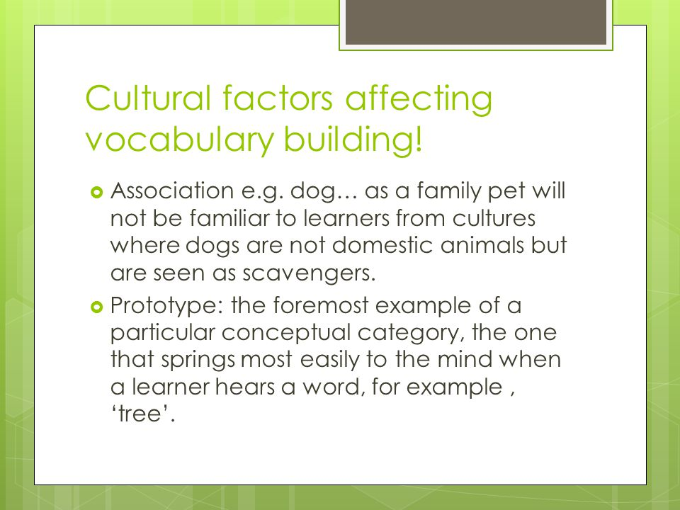 Cultural factors affecting vocabulary building!