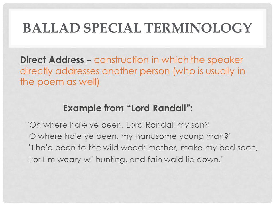 BALLAD SPECIAL TERMINOLOGY