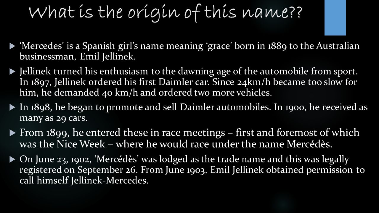Mercedes benz ppt video online download for Mercedes benz name origin
