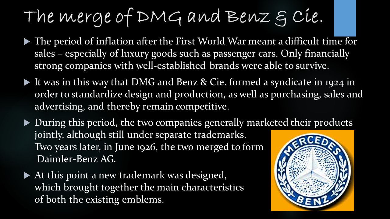 The merge of DMG and Benz & Cie.