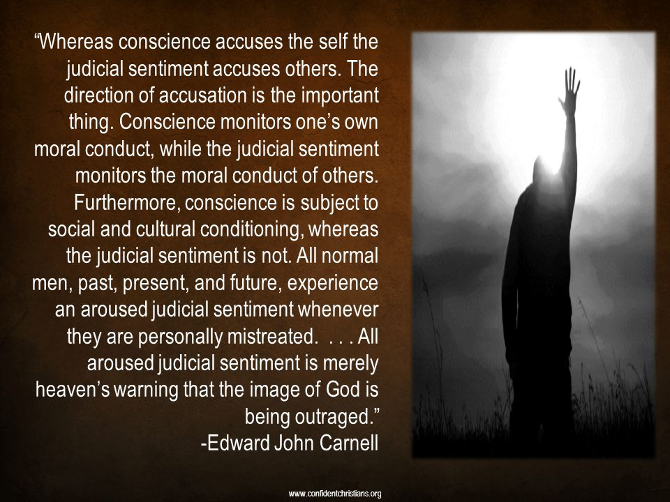 Whereas conscience accuses the self the judicial sentiment accuses others. The direction of accusation is the important thing. Conscience monitors one's own moral conduct, while the judicial sentiment monitors the moral conduct of others. Furthermore, conscience is subject to social and cultural conditioning, whereas the judicial sentiment is not. All normal men, past, present, and future, experience an aroused judicial sentiment whenever they are personally mistreated. . . . All aroused judicial sentiment is merely heaven's warning that the image of God is being outraged.