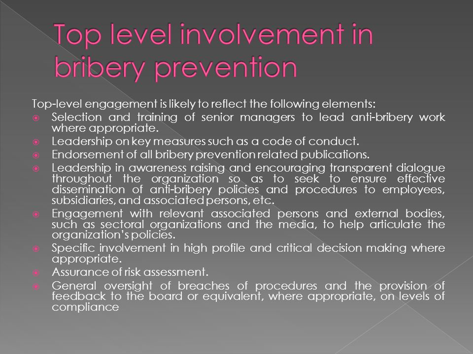 Top level involvement in bribery prevention