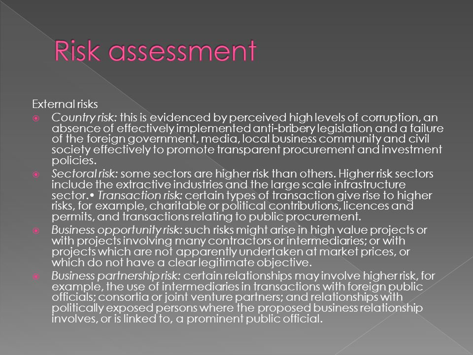 Risk assessment External risks