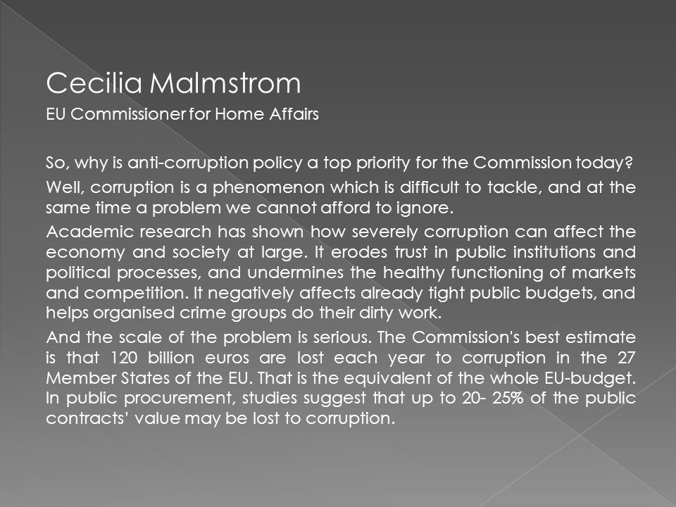 Cecilia Malmstrom EU Commissioner for Home Affairs