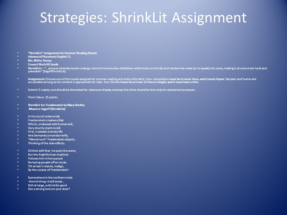 Strategies: ShrinkLit Assignment
