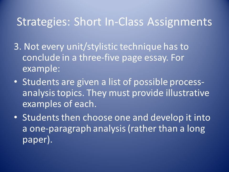 Strategies: Short In-Class Assignments