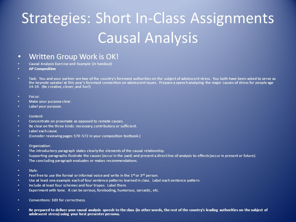 Strategies: Short In-Class Assignments Causal Analysis