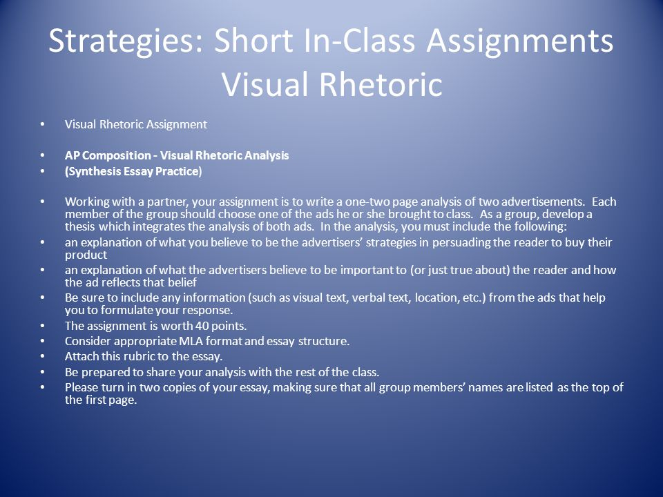 rhetoric assignment For teachers: 1001 assignments below is a list of recommended assignments for english 1001 in some cases  rhetorical analysis: in a rhetorical analysis.