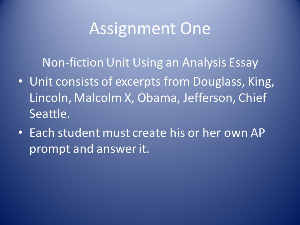 Non-fiction Unit Using an Analysis Essay