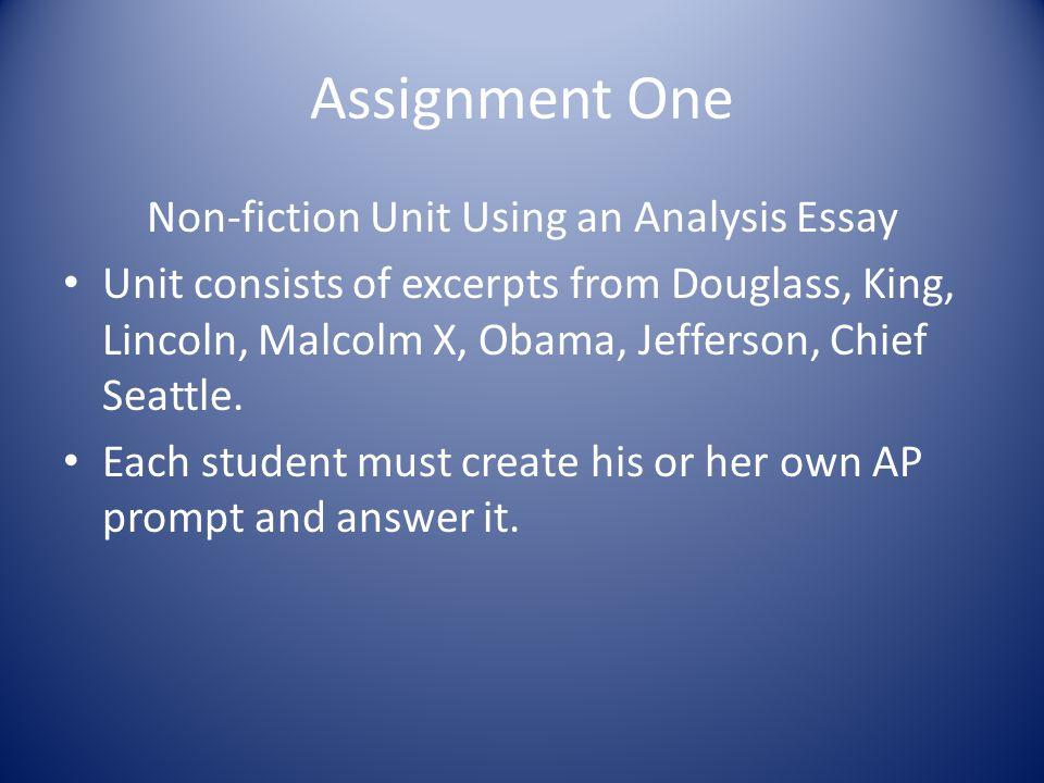 Non-fiction Unit Using an Analysis Essay