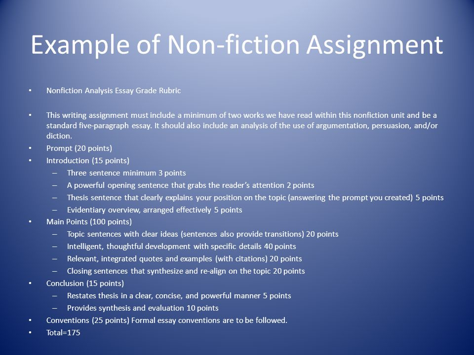 Example of Non-fiction Assignment