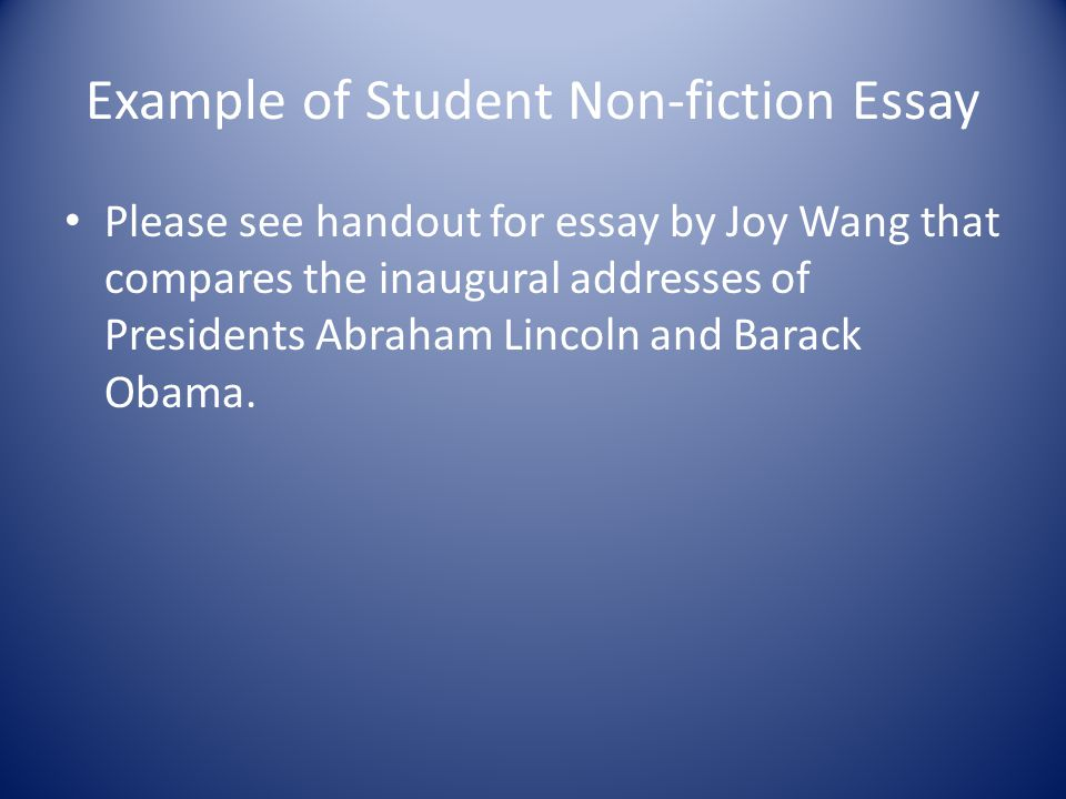 Example of Student Non-fiction Essay