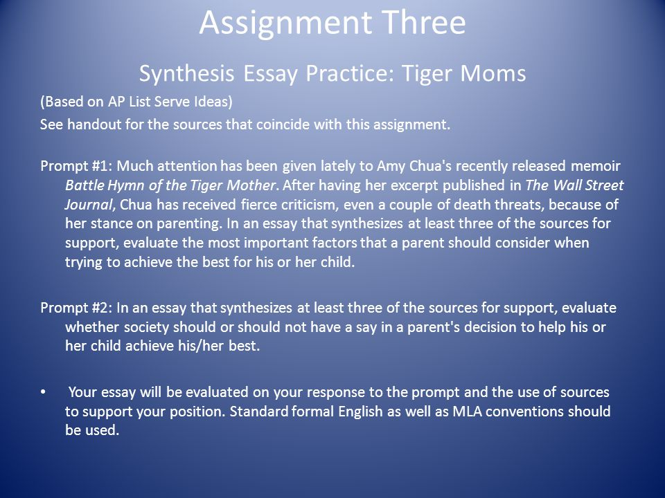Synthesis Essay Practice: Tiger Moms