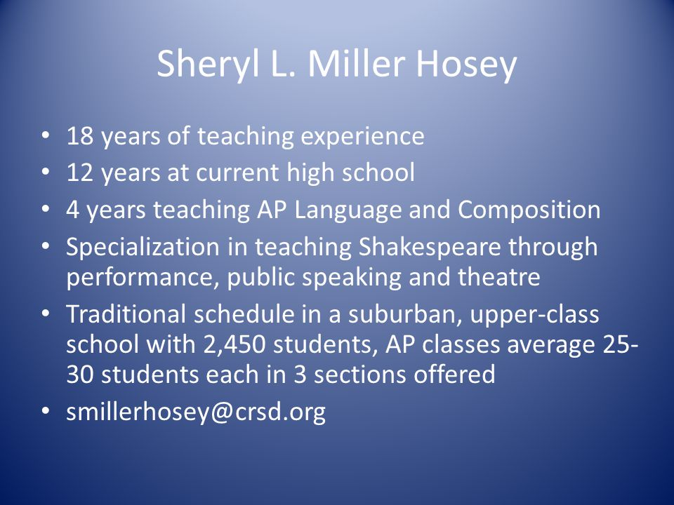 Sheryl L. Miller Hosey 18 years of teaching experience