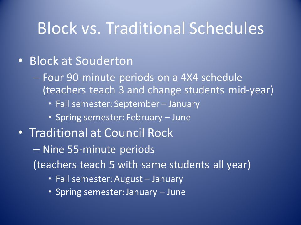 Block vs. Traditional Schedules