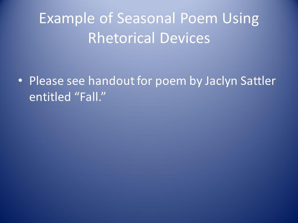 Example of Seasonal Poem Using Rhetorical Devices