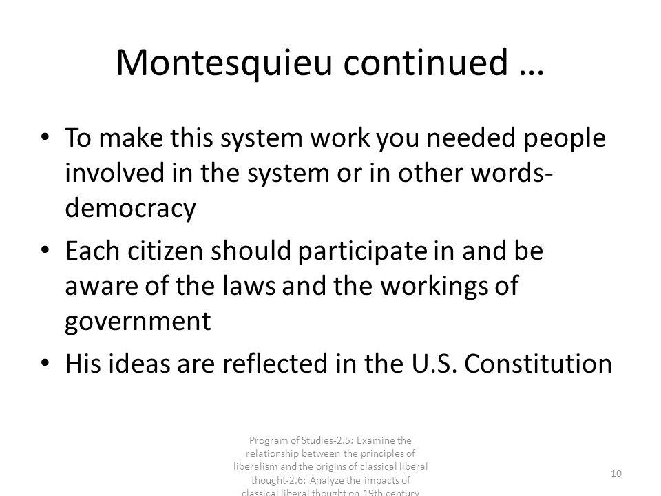 Montesquieu continued …