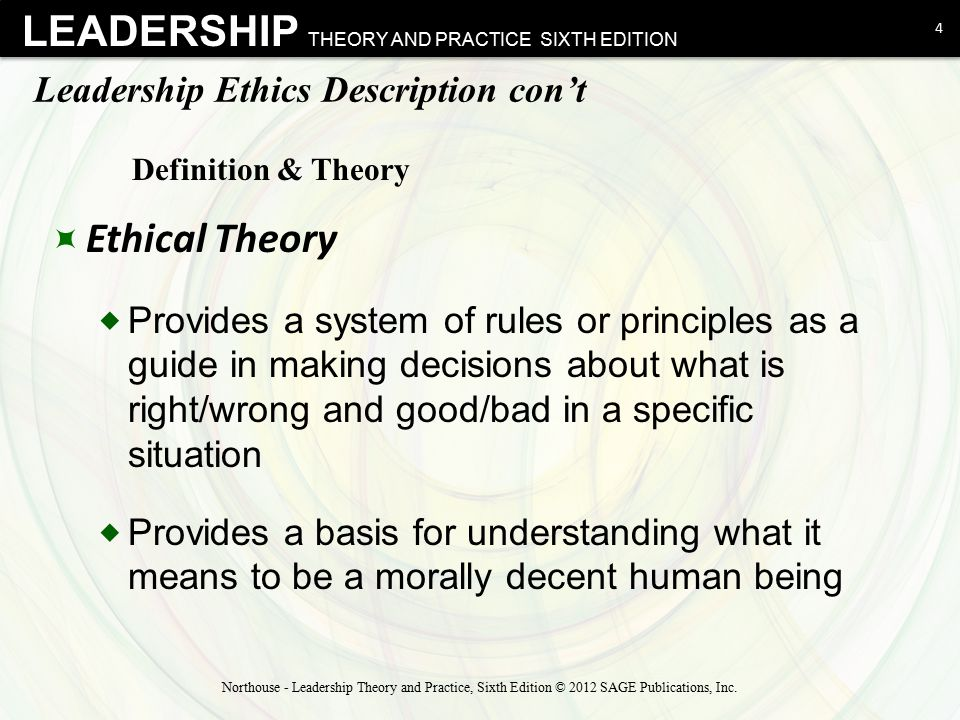 Leadership Ethics Description con't