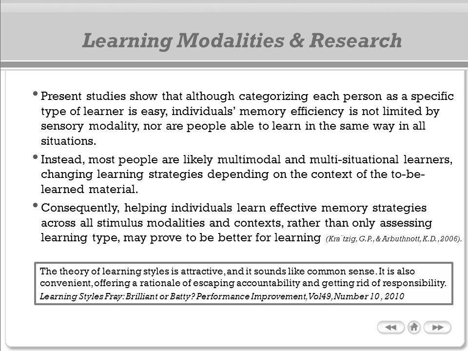 Learning Modalities & Research