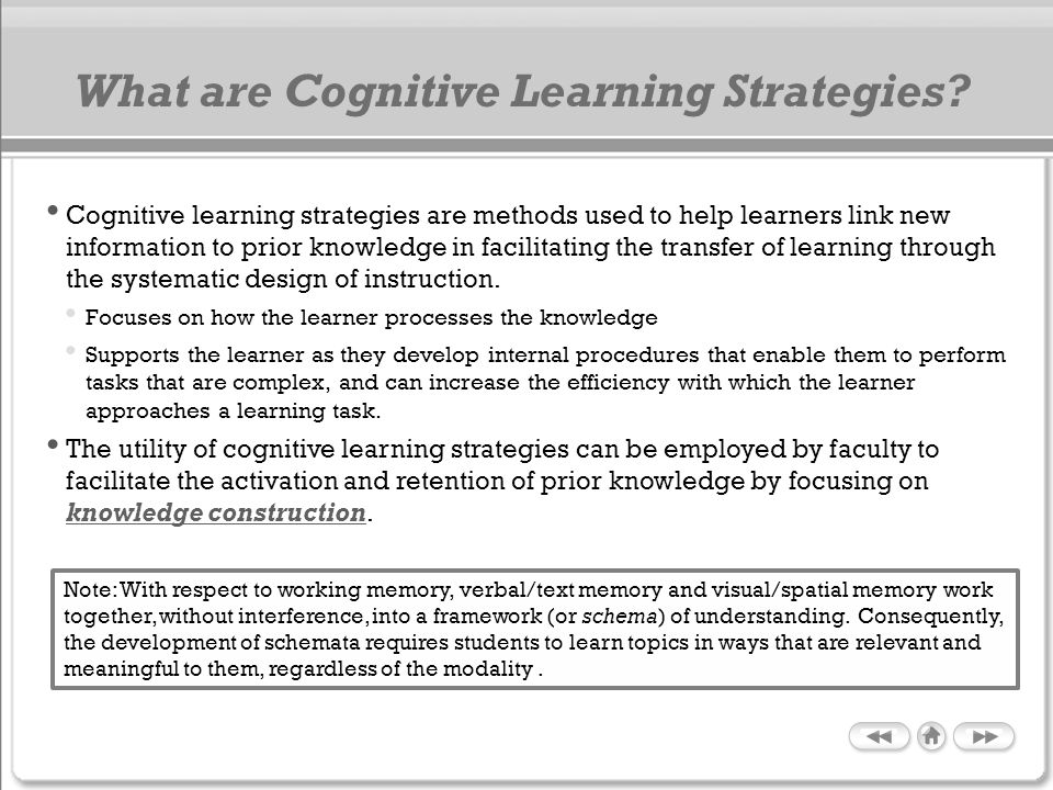 What are Cognitive Learning Strategies