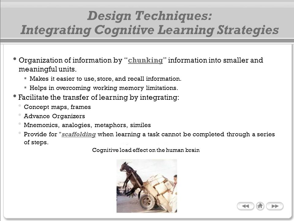Design Techniques: Integrating Cognitive Learning Strategies