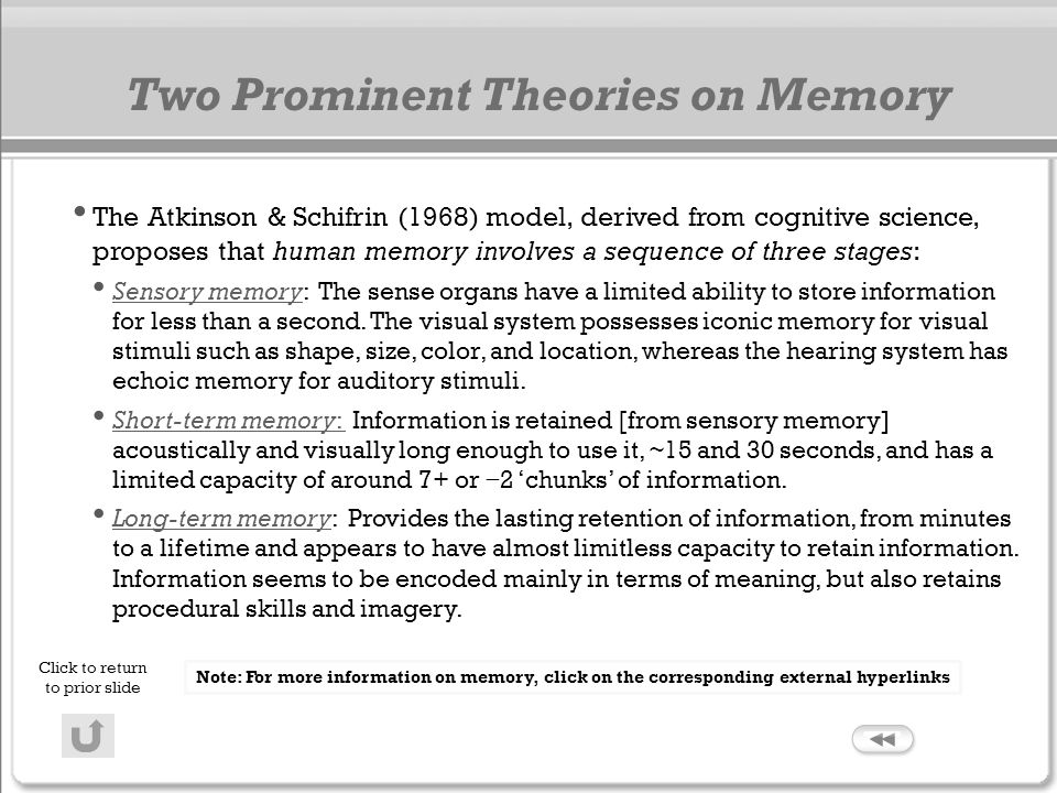 Two Prominent Theories on Memory